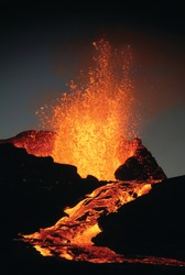 Lava boiling out of the Kilauea Volcano  stock photo