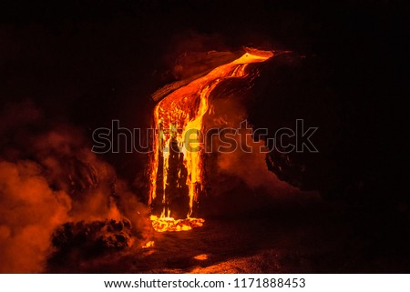 Photo of  Lava dripping down a cliff