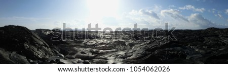 Lava field Hawaii black rock barren wasteland