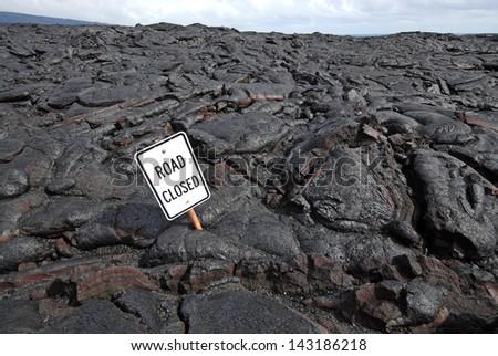 Lava Flow Closes Road - Big Island of Hawaii - stock photo