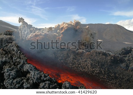 Lava flow  from a flank eruption at volcano Etna in Sicily