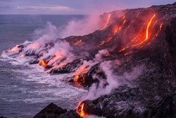 Lava is entering the ocean with many small flows
