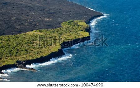 lava on Hawaiian coast - stock photo