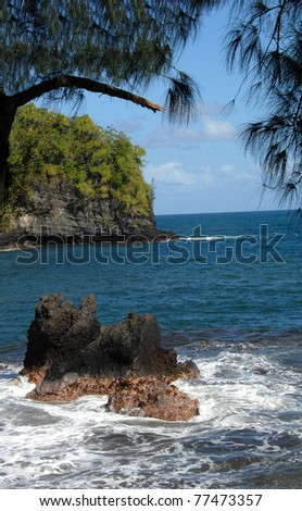 Lava rocks jut their ragged edges out of the water in Onomea Bay on the Big Island of Hawaii.  Sunshine turns the water to aqua.