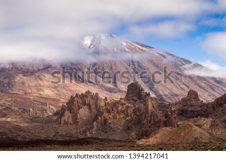 Lava stones and rocks around the volcano covered by the generic plants. Top of Pico del Teide surrounded by white clouds. Teide national park, Tenerife, Canary Islands, Spain. #1394217041