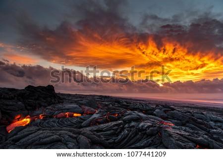 Photo of  Lava sunrise on the southeast rift zone of Kilauea volcano