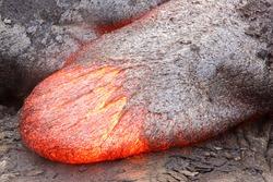 Lava tongue with a basaltic composition in Hawaii. Kilauea volcano, Pu'u O'o vent.