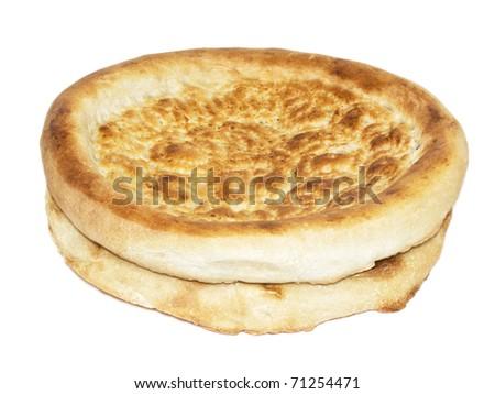 lavash unleavened wheat bread isolated on white - stock photo
