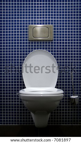 Lavatory pan with the push button and toilet brush on blue tile background