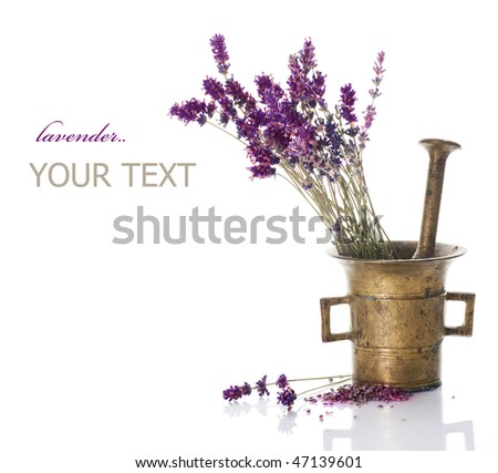 Lavender and antique Mortar.Natural cosmetics concept