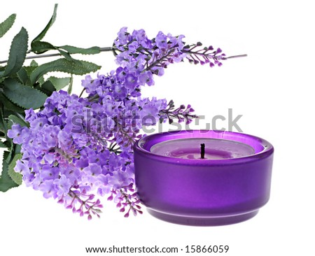 Lavender and violet candle
