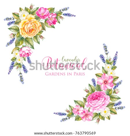 Lavender aromatic herbal flowers with summer roses bouquet. Design for marriage, wedding or invitation card. Watercolor illustration isolated over white background. #763790569
