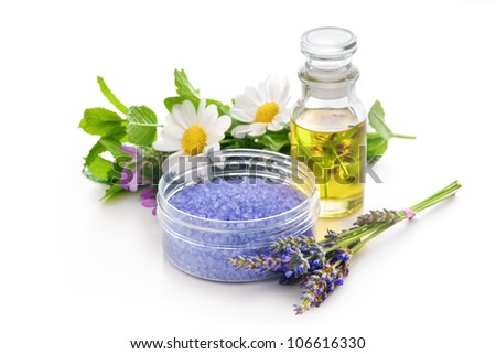 Lavender bath salt and other herbs for aromatherapy