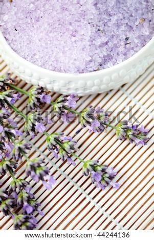 lavender bath salt and some fresh lavender - beauty treatment