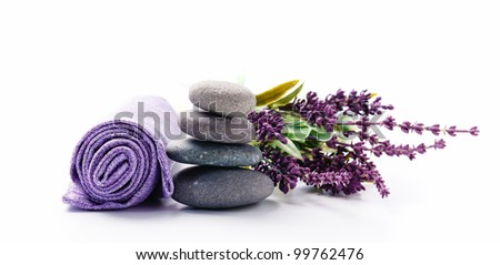 Lavender bouquet and zen stones