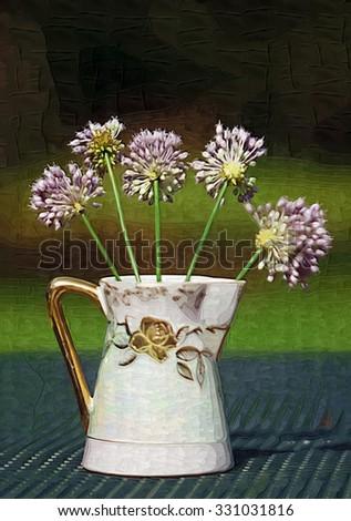 Lavender Crow Garlic Allium Wildflowers Vase / Lavender Crow Garlic Allium Wildflowers Vase / Lavender Crow Garlic Allium Wildflowers Vase /