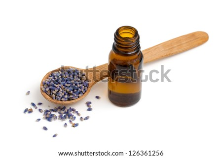 lavender essential oil isolated on white background