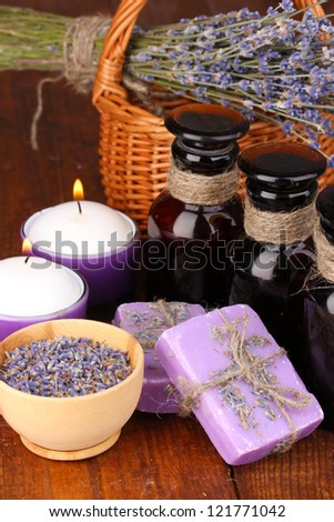 Lavender flowers and jar - stock photo