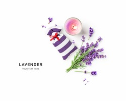 Lavender flowers and leaves bunch, sachet and candle creative layout on white background. Top view, flat lay. Floral design element. Aromatherapy and herbal medicine concept