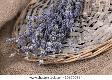 Lavender flowers on sackcloth