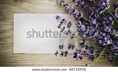 Lavender flowers over wooden background with blank