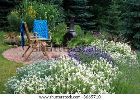 lavender garden with garden chairs