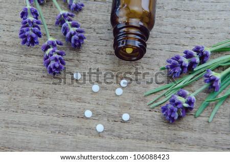 Lavender grains on a wooden background