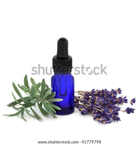 Lavender herb dried flowers and leaf sprig with an aromatherapy essential oil glass blue bottle, over white background.