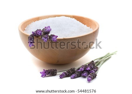 Lavender infused bathing salt with lavender over white background