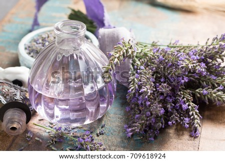 Lavender nature cosmetics, handmade preparation of essential oils, perfume, creams, soaps from fresh and dried lavender flowers, French artisanal boutique home style