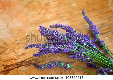 Lavender on old rustic wood