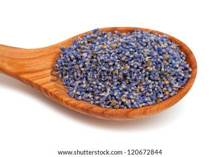 lavender petals in a wooden spoon