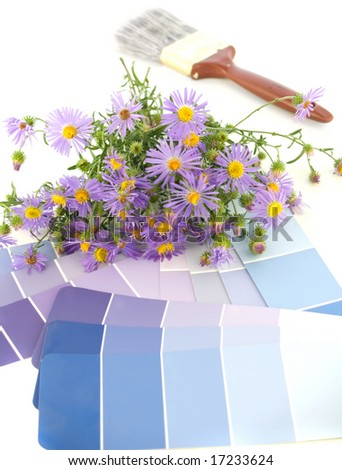 lavender, purple and cornflower blue paint swatches with purple asters and a paintbrush