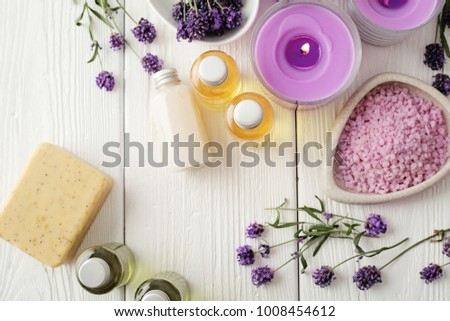 lavender SPA cosmetics, flat lay. soap, essential oils, bath salt and aromatherapy candles