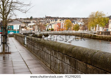 Lavitt's Quay on the north channel of river Lee. Cork City, Ireland