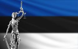 Law and justice in Estonia. Estonia flag with Themis.