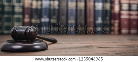 Law and Justice, Legality concept, Judge Gavel on a wooden background, Law library concept. #1255046965