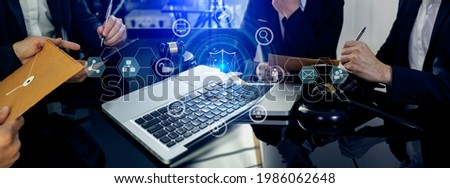 Law and Legal services concept, Lawyer business team working with digital tablet and laptop at the table office and law technology interface icons, Blurred background. Foto stock ©
