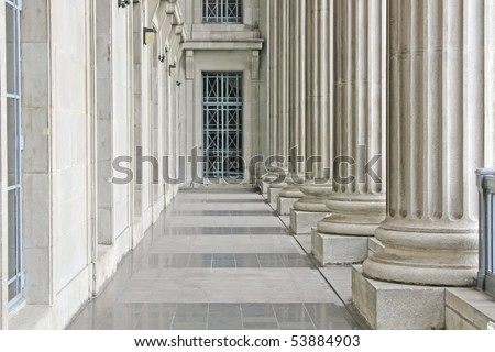Law and Order in University Stone Building - stock photo