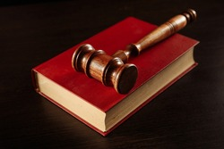 law book with a judges gavel resting on top of the pages in a courtroom or law enforcement office