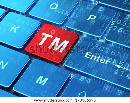 Law concept: computer keyboard with Trademark icon on enter button background, 3d render