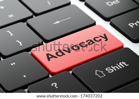 Law concept: computer keyboard with word Advocacy, selected focus on enter button background, 3d render
