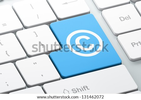 Law concept: Enter button with Copyright on computer keyboard, 3d render