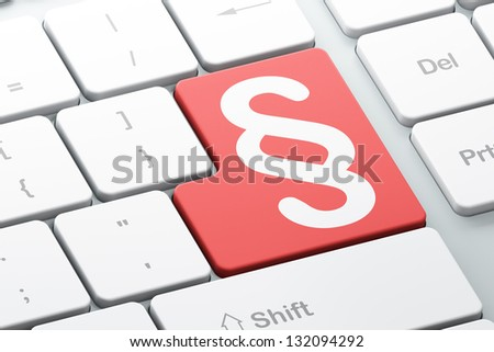 Law concept: Enter button with Paragraph on computer keyboard background, 3d render