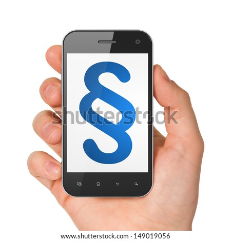 Law concept: hand holding smartphone with Paragraph on display. Generic mobile smart phone in hand on White background.