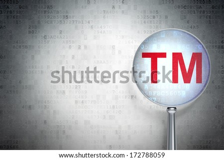 Law concept: magnifying optical glass with Trademark icon on digital background, empty copyspace for card, text, advertising, 3d render