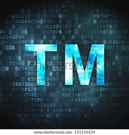 Law concept: pixelated Trademark icon on digital background, 3d render