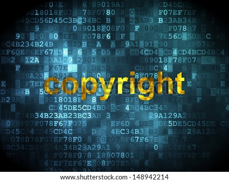 Law concept: pixelated words Copyright on digital background, 3d render