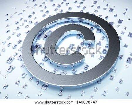Law concept: Silver Copyright on digital background, 3d render