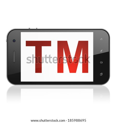 Law concept: smartphone with Trademark icon on display. Mobile smart phone on White background, cell phone 3d render - stock photo